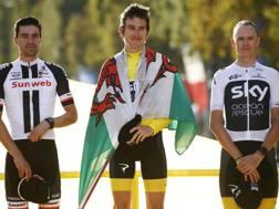 Il podio del Tour de France 2018: da sinistra a destra, Tom Dumoulin, Geraint Thomas e Chris Froome. Bettini