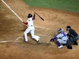 Eduardo Nunez dei Red Sox realizza un fuoricampo da tre punti AFP