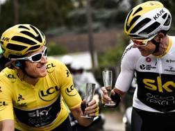 Geraint Thomas e Chris Froome, 1° e 3° al Tour 2018. Afp