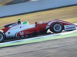 Mick Schumacher in azione con la Prema. Afp