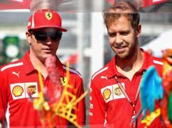 Kimi Raikkonen con Sebastian Vettel in Messico. Afp