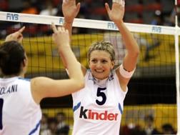 Sara Anzanello in maglia azzurra con Ortolani e Centoni AFP