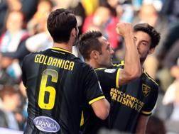 La festa del Frosinone al gol di Ciano. ANSA