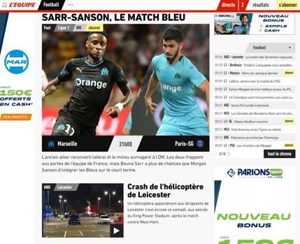 La notizia sull'Equipe in Francia, sotto l'apertura dedicata alla Ligue1