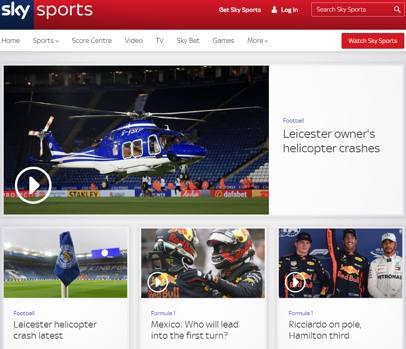 Il sito di Sky Sport inglese
