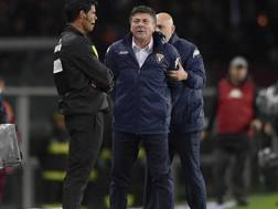 Il tecnico del Torino Walter Mazzarri, 57 anni, trattenuto a fatica sabato sera in occasione dell'espulsione contro la Fiorentina. La Presse