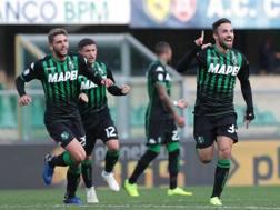 Federico Di Francesco festeggia il gol contro il Chievo. Ansa