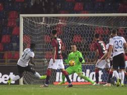 Il gol del 2-1 Atalanta segnato da Zapata. LaPresse