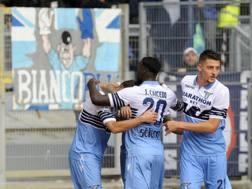 La Lazio esulta dopo il gol. Getty