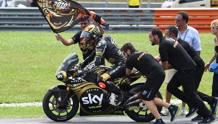 Bagnaia festeggia il mondiale Moto2. Afp
