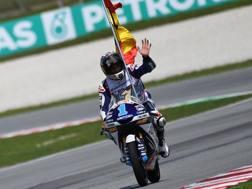 Jorge Martin festeggia il titolo della Moto3. Afp