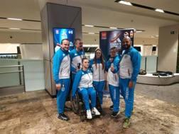 I quattro paratleti azzurri a Madrid con Fabio Verdone, membro della Commissione Nazionale Disabili, e il tecnico Francesco Maffolini