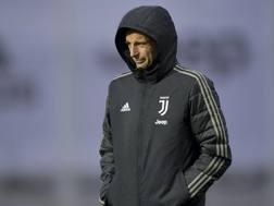 Massimiliano Allegri, 51 anni, durante l'allenamento della vigilia di Juventus-Manchester United. Getty