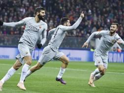 L'esultanza di Kostas Manolas, in gol dopo 4 minuti contro il Cska Mosca. Lapresse
