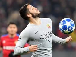 Kostas Manolas, 27 anni, difensore della Roma autore del momentaneo 1-0 Afp