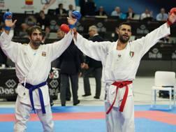 Luigi Busà (a destra) e Rafael Aghayev al termine della semifinale