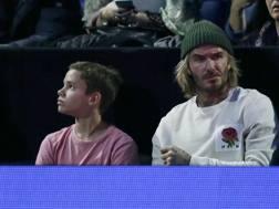 David Beckham col figlio Romeo, 16 anni, durante il torneo del Queens AP