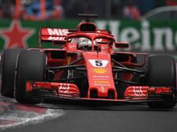 Sebastian Vettel in azione nell'ultimo GP in Messico. Afp