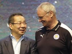 Il presidente del Leicester e Ranieri. Ap
