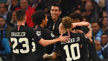 L'esultanza sfrenata del Psg nella partita di Champions contro il Napoli. Afp