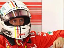 Sebastian Vettel ai box di Interlagos. Getty