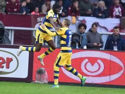 L'esultanza di Gervinho al gol dell'1-0. Ansa