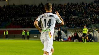 L'esultanza di Simone Palombi dopo il gol del 2-0. LaPresse