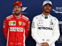 Sebastian Vettel e Lewis Hamilton. Gett