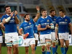 L'Italia festeggia la vittoria sulla Georgia. Afp