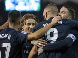 l Real Madrid festeggia. AP