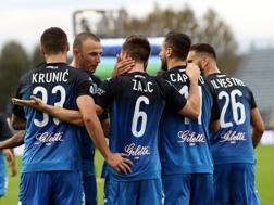 I giocatori dell'Empoli esultano per il gol dell'1-0. Getty
