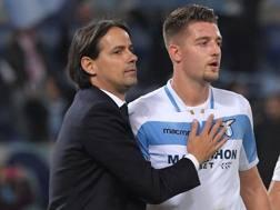 Simone Inzaghi, allenatore della Lazio, con Milinkovic-Savic. Afp