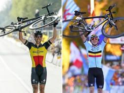 Philippe Gilbert (a sin.) e Remco Evenepoel accomunati dalla stessa esultanza