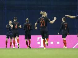 I giocatori della Croazia esultano. AP