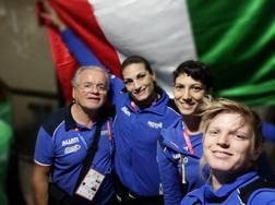 Il team leader Sergio Rosa, con Canfora, Amato e Severin, la campionessa d'Europa dei +81.