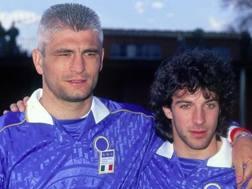 Fabrizio Ravanelli, ex attaccante di Juve e Lazio con Alessandro Del Piero. Getty