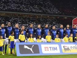 L'Italia in campo prima dell'infausta notte contro la Svezia che ci costò il Mondiale. Lapresse