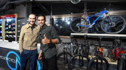 Ivan Basso (a sin.) e Alberto Contador a Roma, nella serata di inaugurazione di Trek Concept Store Cycle'n'Cycle.Sestili