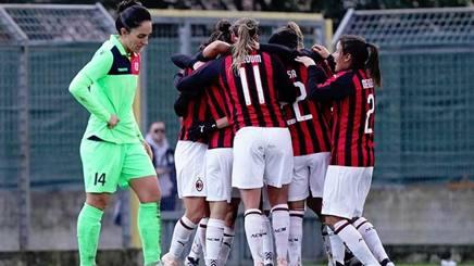 L'esultanza del Milan al gol dell'1-0. Sito ufficiale Milan