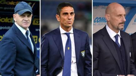Beppe Iachini, Moreno Longo e Mimmo Di Carlo, rispettivamente gli allenatori di Empoli, Frosinone e Chievo. Lapresse