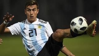 Paulo Dybala, 25 anni, con la maglia dell'Argentina durante la sfida a Cordoba contro il Messico. Afp