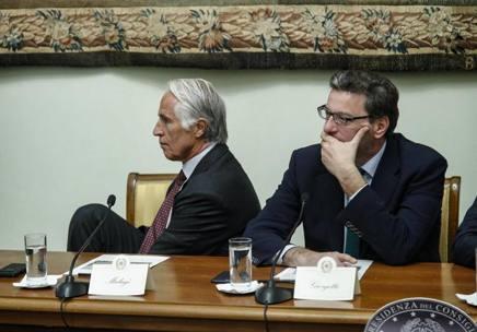 Il presidente del Coni, Giovanni Malagò, e Giancarlo Giorgetti. Ansa