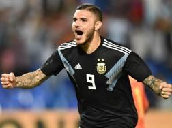 Mauro Icardi festeggia il primo gol con l'Argentina. Getty