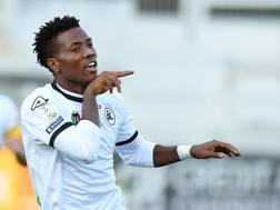L'esultanza di Okereke dopo il gol al Benevento. Lapresse
