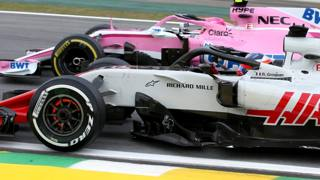 Duello in pista fra la Haas e la Racing Point (ex Force India). Getty