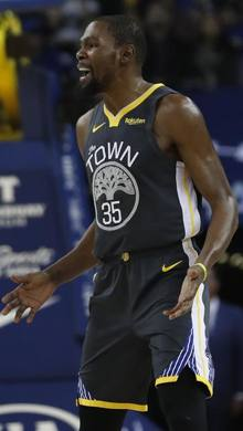 Kevin Durant, 30 anni, terza stagione a Golden State. Ap