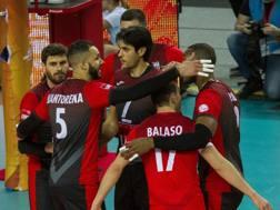 L'esultanza dei giocatori di Civitanova per la vittoria su Belchatow. Fivb.com