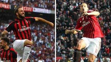 Gonzalo Higuain, 30 anni, e Zlatan Ibrahimovic, 37. Getty/Ansa