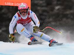 Nadia Fanchini, 32 anni, in azione durante le prove di Lake Louise. Afp