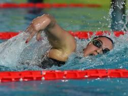 Simona Quadarella, 19 anni, in vasca a Riccione. LaPresse